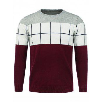 Color Block Checked Panel Crew Neck Sweater