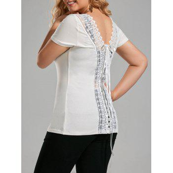 Plus Size Lace Up Open Back T-shirt