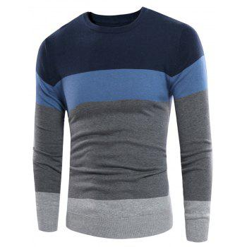 Crew Neck Rib Design Color Block Panel Sweater