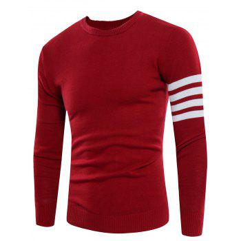 Crew Neck Rib Design Varsity Stripe Sweater
