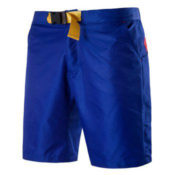 Zipper Fly Polyester Plastic Buckle Embellished Shorts