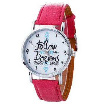 Follow Your Dreams Faux Leather Strap Watch
