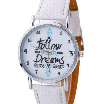 Follow Your Dreams Faux Leather Strap Watch - WHITE