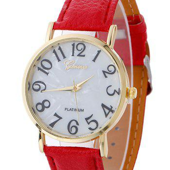Marble Face Faux Leather Strap Watch - RED