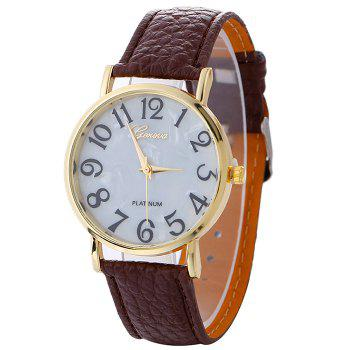 Marble Face Faux Leather Strap Watch