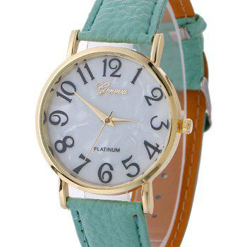 Marble Face Faux Leather Strap Watch - MINT