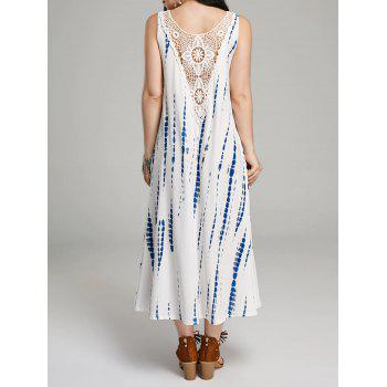 Lace Insert Back Print Sleeveless Maxi Dress