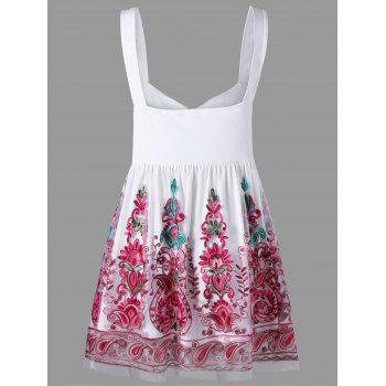 Plus Size Embroidery Sleeveless Ball Gown Top - RED 5XL