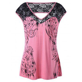 Plus Size Lace Insert Open Back T-shirt