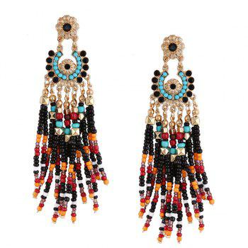 Flower Beaded Tassel Bohemian Earrings