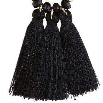 Round Resin Beaded Tassel Earrings - BLACK