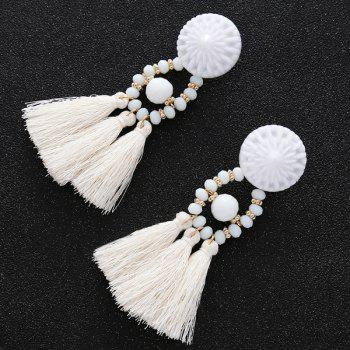 Round Resin Beaded Tassel Earrings - WHITE