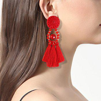 Round Resin Beaded Tassel Earrings - RED