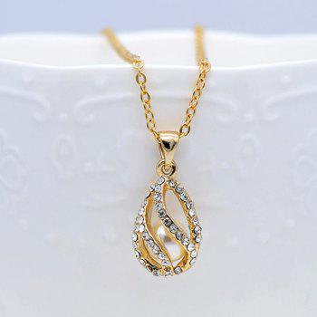 Rhinestoned Faux Pearl Teardrop Jewelry Set -  GOLDEN