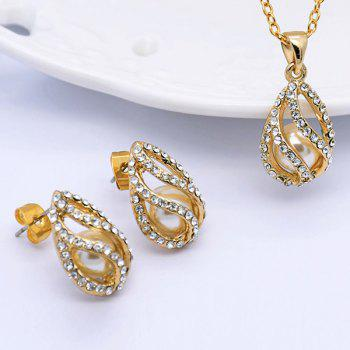 Rhinestoned Faux Pearl Teardrop Jewelry Set - GOLDEN GOLDEN