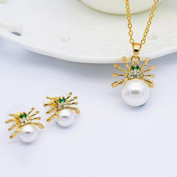 Rhinestoned Faux Pearl Spider Jewelry Set - GOLDEN GOLDEN
