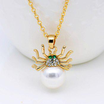 Rhinestoned Faux Pearl Spider Jewelry Set -  GOLDEN