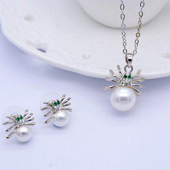 Rhinestoned Faux Pearl Spider Jewelry Set - SILVER SILVER