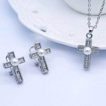 Faux Pearl Rhinestone Cross Jewelry Set - SILVER SILVER