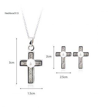 Faux Pearl Rhinestone Cross Jewelry Set -  SILVER