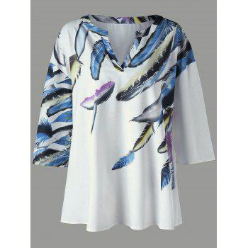 Plus Size Drop Shoulder Feather Print T-Shirt