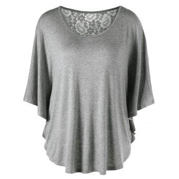 Plus Size Butterfly Sleeve Lace Insert T-Shirt - GRAY 5XL