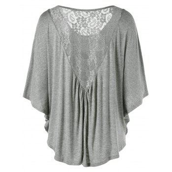 Plus Size Butterfly Sleeve Lace Insert T-Shirt