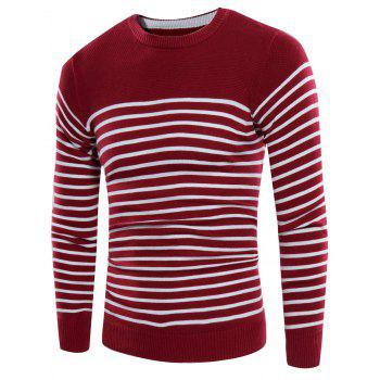 Crew Neck Rib Panel Striped Design Sweater