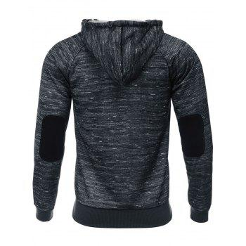Zip Up Side Pocket Design Hoodie - CHARCOAL GRAY M