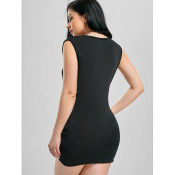 Plunging Neck Bodycon Draped Dress - BLACK XL