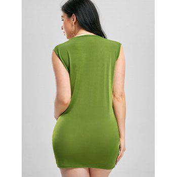 Plunging Neck Bodycon Draped Dress - GREEN M