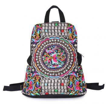 Tribal Embroidered Canvas Backpack