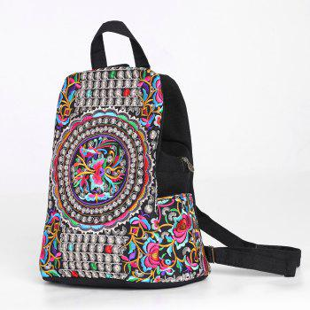 Tribal Embroidered Canvas Backpack - BLACK