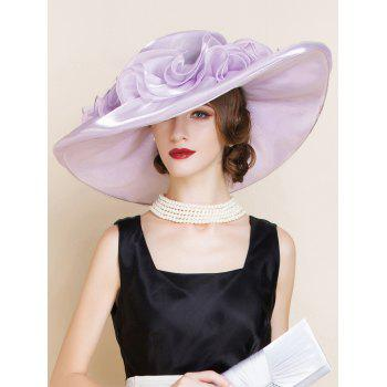Oversize Organza Layered Flowers Design Sun Hat - SUEDE ROSE SUEDE ROSE