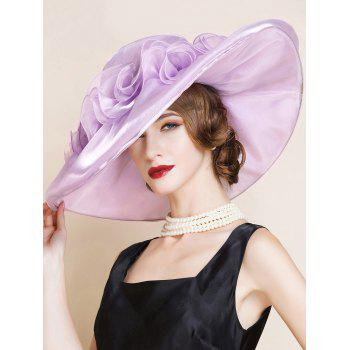 Oversize Organza Layered Flowers Design Sun Hat - SUEDE ROSE
