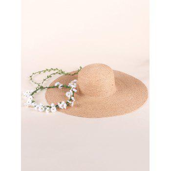 Oversize Brim Fake Flowers Straw Sun Hat - YELLOW
