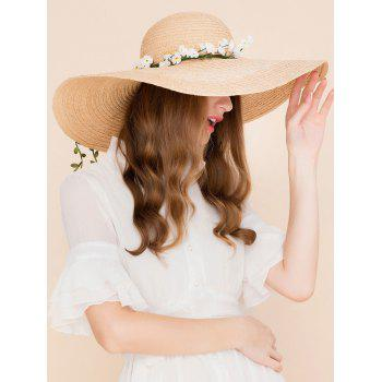 Oversize Brim Fake Flowers Straw Sun Hat