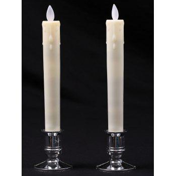 LED Swing Electrnic Plastic Pillar Shape 2PCS Candles Night Light -  WHITE