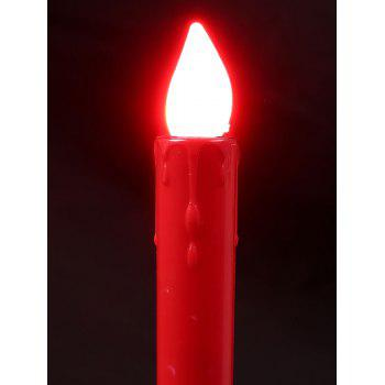 Plastic Pillar Shaped LED Electronic 2PCS Candles Night Light -  RED