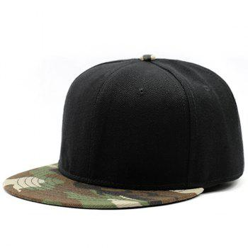 Camouflage Flat Brim Spliced Baseball Hat