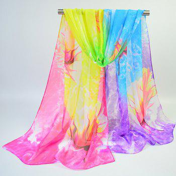 Lightsome Multicolor Chiffon Fancy Floral Printing Scarf