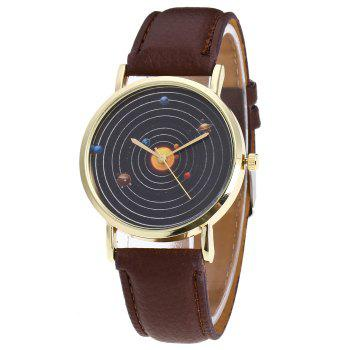 Solar System Face Faux Leather Watch
