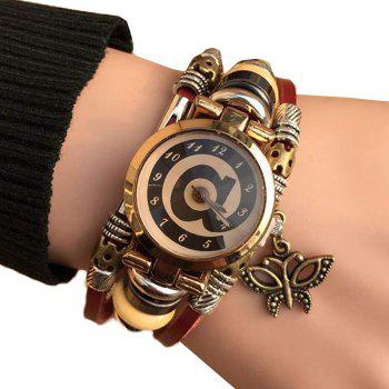 Butterfly Faux Leather Strap Bracelet Watch