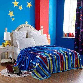 Stripe and Star Spring Summer Throw Blanket - BLUE FULL