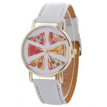Pizza Face Faux Leather Quartz Watch