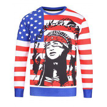 Stars and Stripes Patriotic Chief Print Sweatshirt
