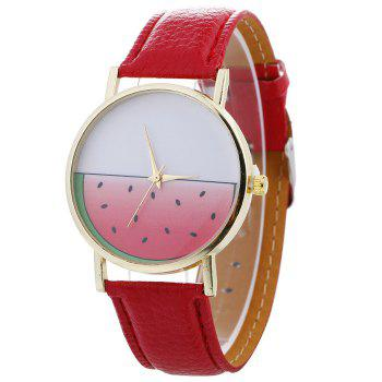 Watermelon Face Faux Leather Watch - RED RED