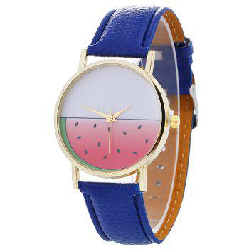 Watermelon Face Faux Leather Watch - BLUE BLUE