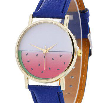 Watermelon Face Faux Leather Watch -  BLUE