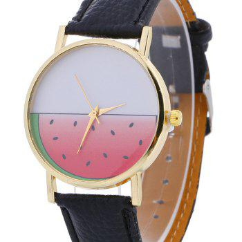 Watermelon Face Faux Leather Watch -  BLACK